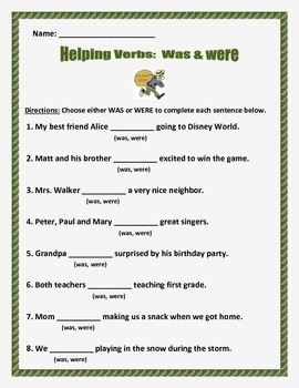 Helping Verbs Was and Were -- 3 pages 8 questions per page.  Common Core.