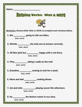 Helping Verbs Was and Were -- 3 pages 8 questions per page