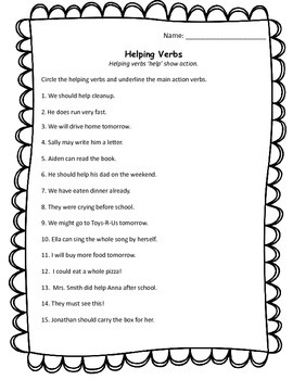 Helping Verbs – word lists, activities, worksheets, and more ...