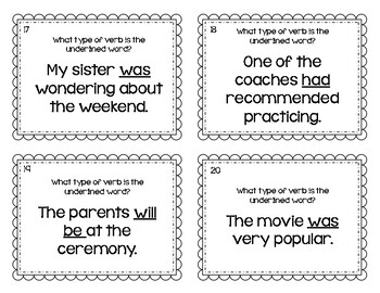 Helping Verbs and Linking Verbs Task Cards