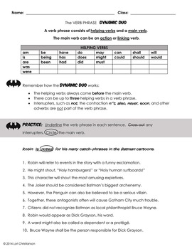 Helping Verbs and the Verb Phrase:  PowerPoint Lesson and Worksheet