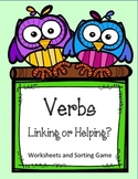 Helping Verbs or Linking Verbs Worksheet and Sorting Center Game