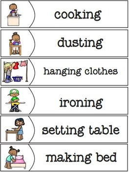 Helping at Home Matching Tasks and Worksheets
