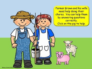 Helping on the Farm Interactive PowerPoint Game Template for all subjects