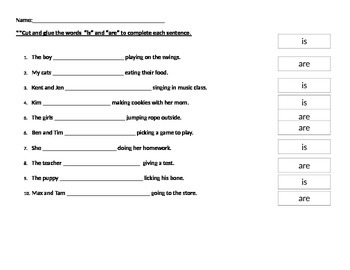 Helping verbs Is and Are Worksheet