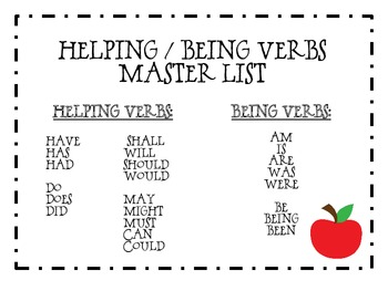 Helping/Being Verbs Freebie