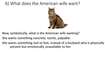 """Hemingway's """"A Cat In the Rain"""" short story Analysis Q & A PowerPoint"""