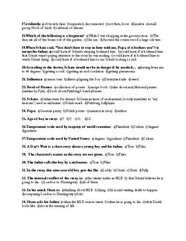 """Hemingway's """"A Day's Wait"""" Quiz (w/ Key)"""