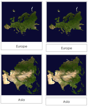 Hemisphere and Continent Cards (Satellite Images)