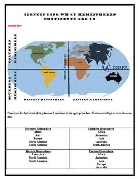 Hemispheres/Continents Worksheet w/ Answer Key
