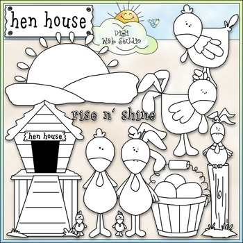 Hen House Clip Art - Chickens Clip Art - Farm Clip Art - CU Clip Art & B&W
