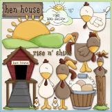 Hen House Clip Art - Chickens Clip Art - Farm Clip Art - C
