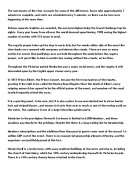 Henley Royal Regatta Article and Assignment