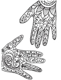 Henna Hands Coloring Pages