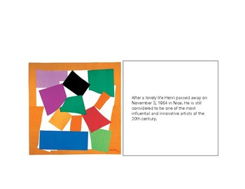 Henri Matisse Biography Cards