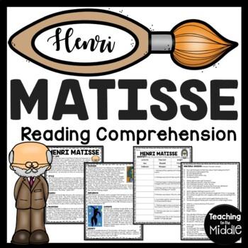 Henri Matisse Biography Reading Comprehension Worksheet for Art History