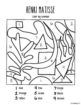 Henri Matisse Cut Outs Color by Number
