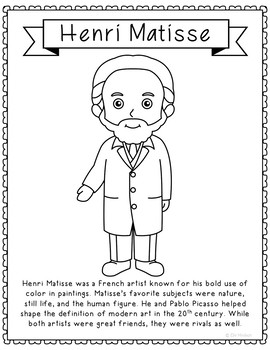Henri Matisse, Famous Artist Informational Text Coloring Page Craft or Poster