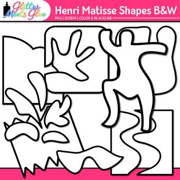 Henri Matisse Shapes Clip Art | Collage Cutout Shapes for Art Lessons | B&W
