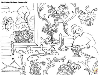 Henri Matisse - The Dessert: Harmony in Red Coloring Page