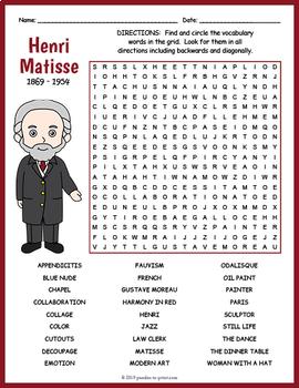 Henri Matisse Word Search Worksheet