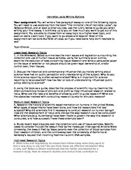 Henrietta Lacks Research Paper Options