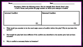 Henrik Ibsen's A Doll's House: Conflict Chart Assignment/Graphic Organizer
