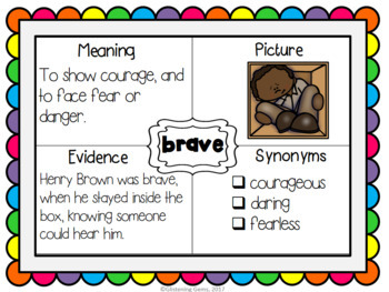 Henry's Freedom Box - Character Trait Word Maps, Graphic Organizers