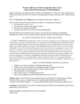 Henry D. Thoreau & Civil Disobedience Warm Up/Review Lesson