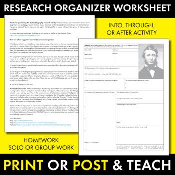 Henry David Thoreau Author Study Worksheet, Easy Biography Activity, CCSS