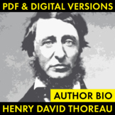 Henry David Thoreau Author Study Worksheet, Easy Biography Activity, CCSS