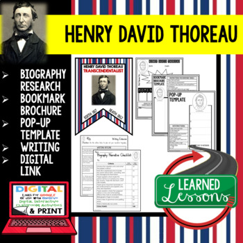 Henry David Thoreau Biography Research, Bookmark Brochure, Pop-Up, Writing