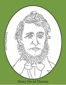 Henry David Thoreau Clip Art, Coloring Page or Mini Poster