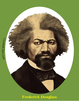Frederick Douglass Realistic Clip Art, Coloring Page and Mini Poster