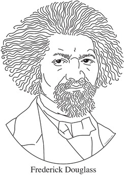 frederick douglass realistic clip art coloring page and mini poster