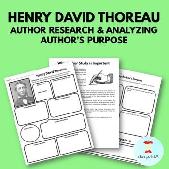 Henry David Throreau - Author Study Worksheet, Author's Purpose, Author Research