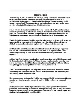 Henry Ford Article and Reading Comprehension Assignment