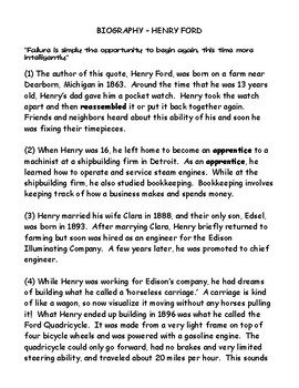 Henry Ford Biography and Find the Evidence Worksheet