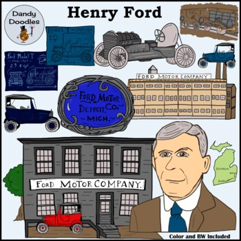 Henry Ford Clip Art by Dandy Doodles