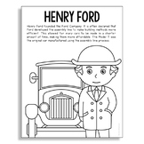 HENRY FORD Inventor Coloring Page Craft or Poster, STEM Technology History