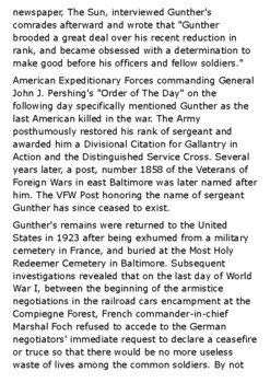 Henry Gunther last soldier to be killed during World War I Handout