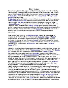 Henry Hudson Biography Reading Comprehension