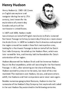 Henry Hudson Handout