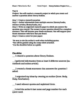Henry Hudson Research Paper Differentiated