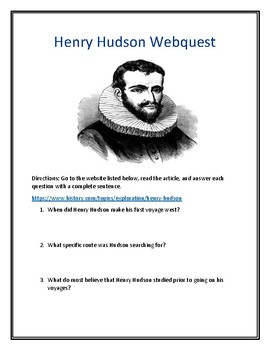 Henry Hudson Webquest (With Answer Key!)