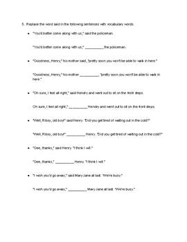Henry Huggins Vocabulary - Said