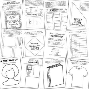 Henry Huggins Novel Unit Study Activities, Book Companion Worksheets, Project