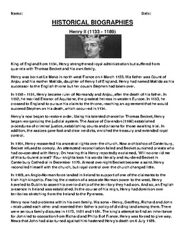 Henry II  Biography Article and (3) Assignments