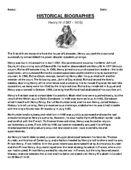 Henry IV Biography Article and (3) Assignments