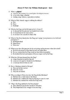Henry IV Part 1 - 100 Question Multiple Choice Quiz / Assessment